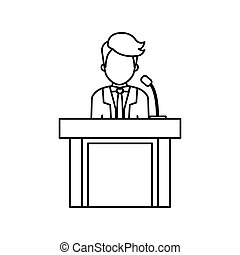 lawyer speaking in court icon vector illustration graphic...