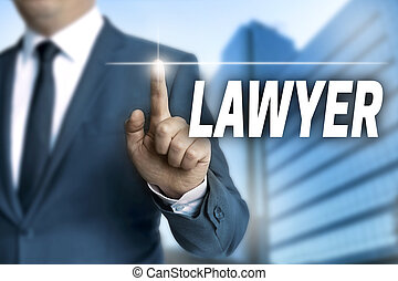 lawyer touchscreen is operated by businessman.