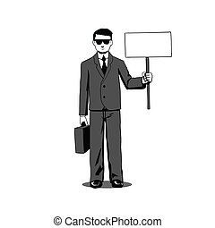 Lawyer with signboard