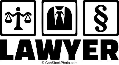 Lawyer word with icons scale suit paragraph