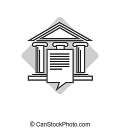Lawyers company emblem with ancient pillars and roof -...