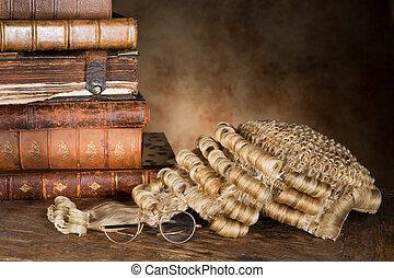 lawyer's, parrucca, e, libri