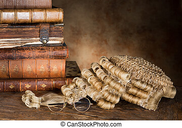 lawyer's, pruik, en, boekjes