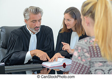 Lawyers with client