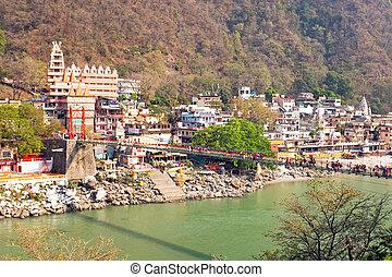 laxman, jhula, γέφυρα , σε , ο , ganga, μέσα , ινδία