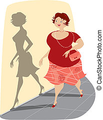 Vector illustration of a round lady looking at her perfect shadow