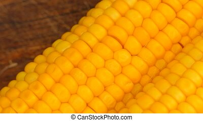 lay boiled corn next to each other