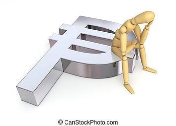 lay figure sitting thinking on peso symbol (mexico, uruguay, colombia, cuba, philippines, dominican republic, chile)