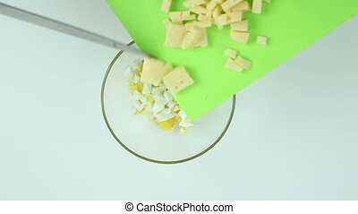 Lay the cheese in a dish