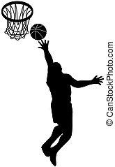 lay-up, jogador, bola, escudo, basquetebol
