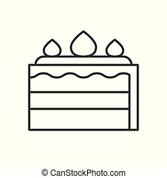 Layer strawberry Cake simple outline vector icon