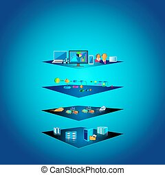 Layered Architecture - Vector Illustration of Service...