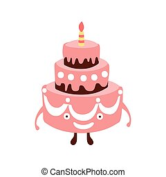 Layered Big Cake With One Candle Children Birthday Party Attribute Cartoon Happy Humanized Character In Girly Colors