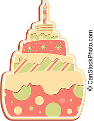 Layered Cake  - Whimsical layered cake with candle
