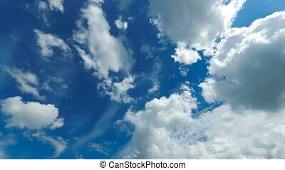 Clouds are Moving in the Blue Sky. Time Lapse - Layered...