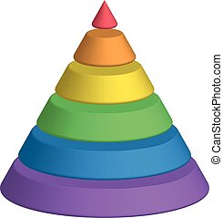 Layered cone. 3D conical pyramid of 6 multicolored rainbow spectrum layers. Vector illustration