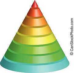 Layered cone. 3D conical pyramid of 8 multicolored rainbow spectrum layers. Vector illustration