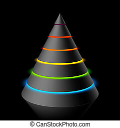 Vector illustration of a black layered cone