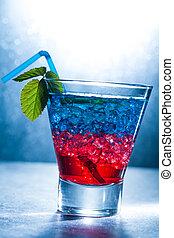 layered, coquetel, com, azul vermelho
