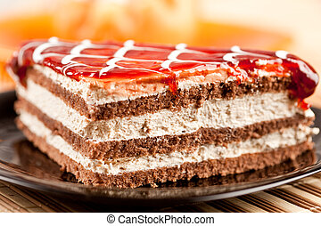 Layered dessert on a plate - Closeup of a delicious layered ...