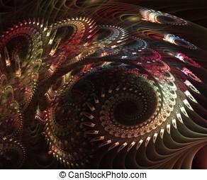 Layered Fabric Spiral - Intricate, feathery fabric layered...