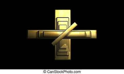 Layered Gold Cross with Rotating Sections