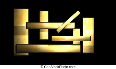 Layered Gold Rectangles with Individual Sections Rotating