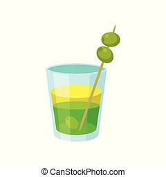 Layered green and yellow alcoholic cocktail with olives cartoon vector Illustration