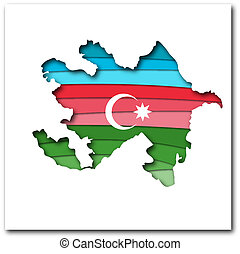 Layered paper Map of Azerbaijan in flag colors isolated vector