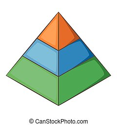 Layered pyramid icon, cartoon style