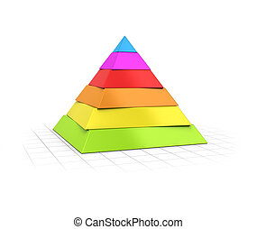 Layered Pyramid Six Levels - Conceptual 3D render of a six...