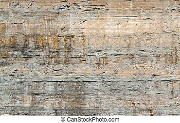 layered rock face seen on a quarry in Southern Germany
