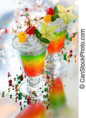 layered sparkling jelly dessert - Layered sparkling jelly...