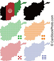Layered vector illustration map and flag of Afghanistan.