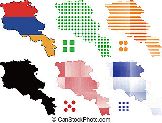 Layered vector illustration map and flag of Armenia.