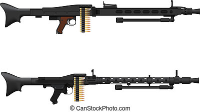 Machine Gun - Layered vector illustration of antique Germany...