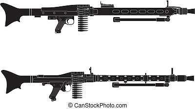 Layered vector illustration of antique Germany Machine Gun.