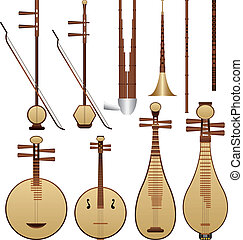 Chinese music instruments - Layered vector illustration of...