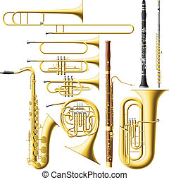 Wind Instruments - Layered vector illustration of collected ...