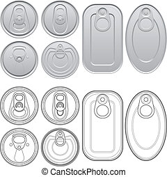 Layered vector illustration of different Cans with top view.