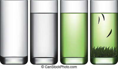 Layered vector illustration of empty glass, a glass of water and a glass of green tea.