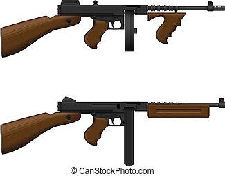 Layered vector illustration of isolated Machine Gun.