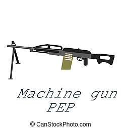 Layered vector illustration of Machine Gun PEP, military weapon automatic machinegun