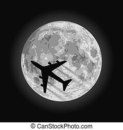 Moon - Layered vector illustration of Moon with a airplane ...