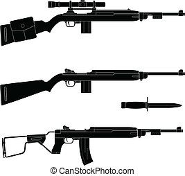Carbine - Layered vector illustration of silhouette Carbine.