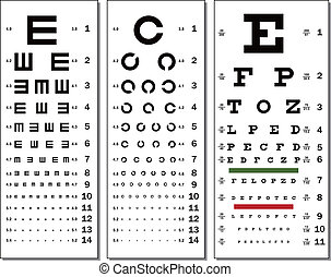 Eye Chart - Layered vector illustration of three kinds of...