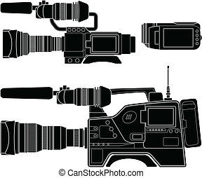 Layered vector illustration of three kinds of Video Camera.
