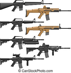 Carbines - Layered vector illutration of different American ...