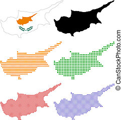 Cyprus - Layered vector pixel map and flag of Cyprus