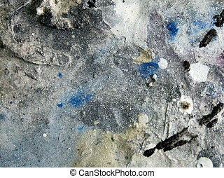 layering of old paint on the table. splashes of colorful paint